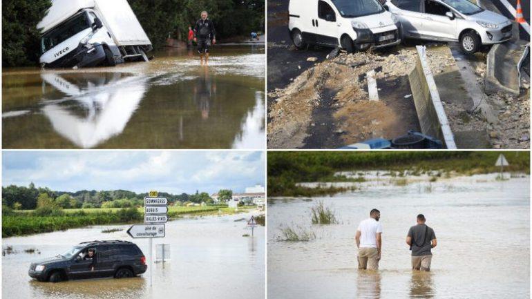 """Përmbytje në Francë, uji """"pushton"""" rrugë e shkolla, një person shpallet i zhdukur, një tjetër goditet nga rrufeja (VIDEO)"""