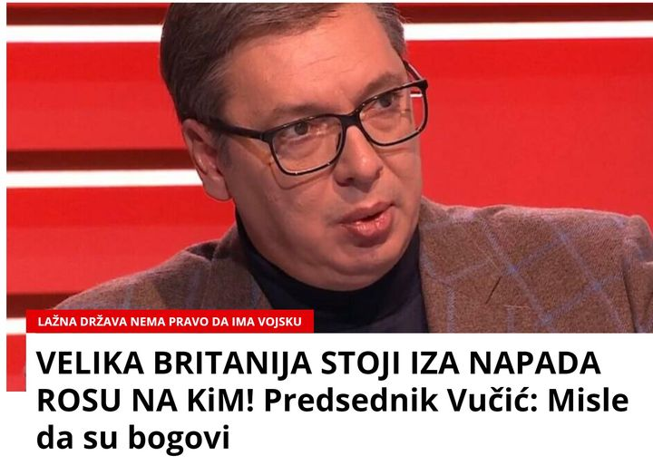 """VUČIĆI: """"BRITANIA QËNDRON MBRAPA KAOSIT DHE SULMEVE TË NJËSIVE SPECIALE TË KOSOVËS"""""""