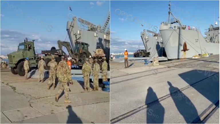 """FOTO/""""Defender Europe 21""""/ Shqipëria mirëpret stërvitjen më të madhe ushtarake, anija e parë amerikane zbarkon në Durrës"""